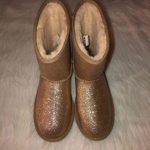 UGG Classic Gold Glitter Short Boot,Size-6,NWOB